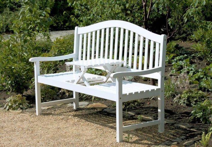 Gartenbank Mit Hochklappbarem Tisch Aus 100 Eukalyptus Weiss
