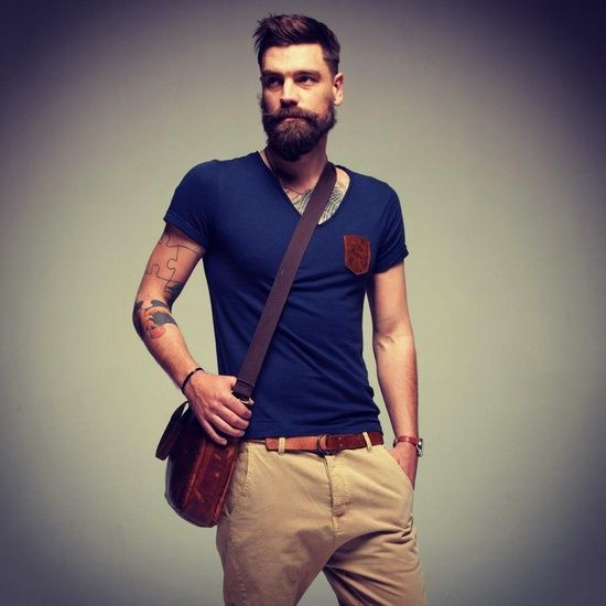love the leather pocket on the t-shirt -- great summer look. #beard #menstyle