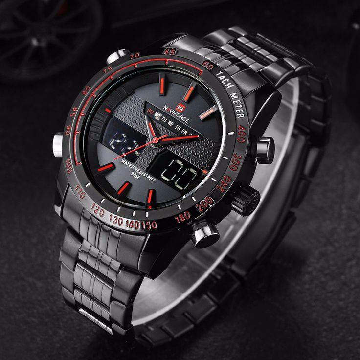 NAVIFORCE Assista Homens Luxo Marca Aço Inoxidável Analógico Digital Led esportes homens relógio de quartzo relógio à prova d' água relogio masculino em Relógios de quartzo de Relógios no AliExpress.com | Alibaba Group