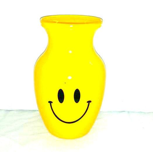 Vintage Yellow Smiley Face Vase, Yellow Glass Vase, Happy Face Vase, Yellow Glass Vase,Vintage Glass,Emoji,Yellow Vase,Get Well by JunkYardBlonde on Etsy