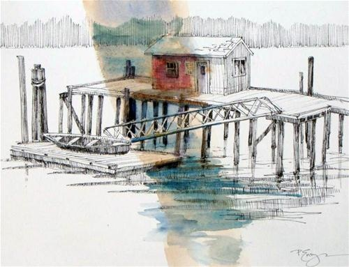 """Orcas Landing"" - Original Fine Art for Sale - © Paula Ensign"