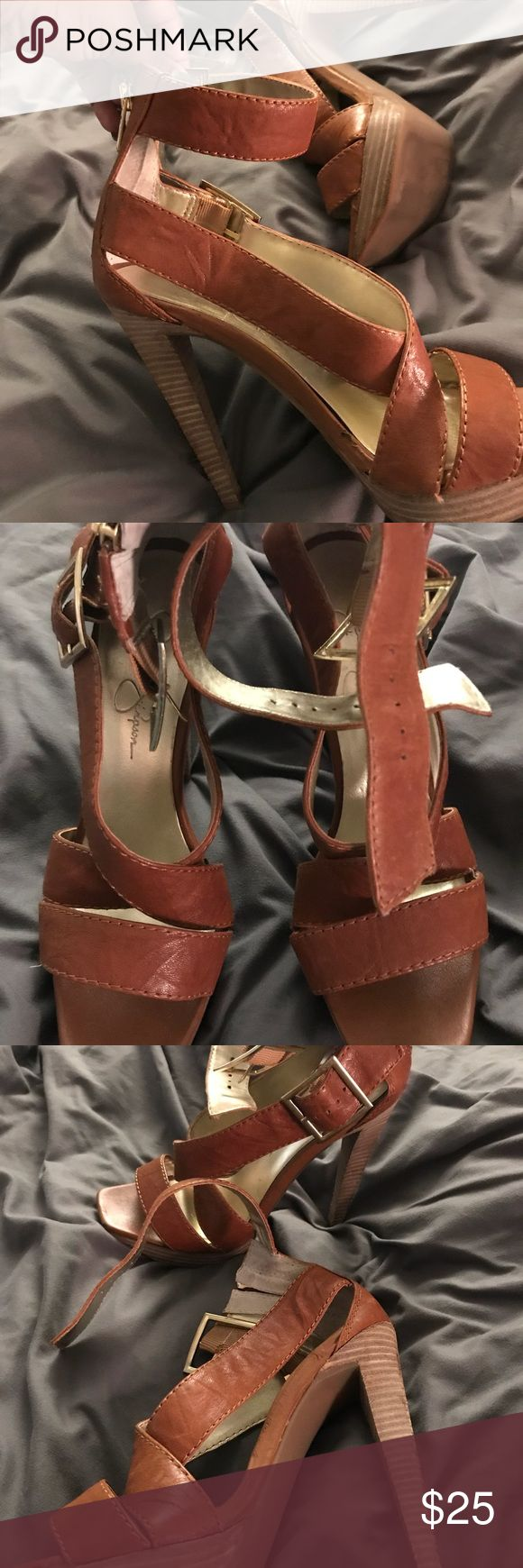 Jessica Simpson high heel ankle strap sandals High heel leather ankle strap Jessica Simpson platform sandals. Slightly worn but in good shape. Jessica Simpson Shoes Heels