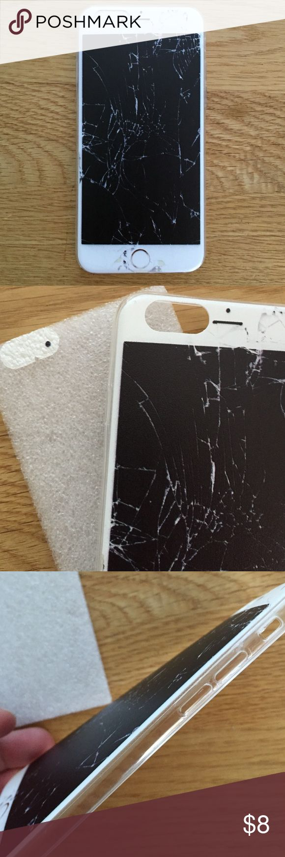 """Broken phone"" phone case Give someone a scare with this one!  Silicone case with semi clear sides.  Although image is matte it really looks like a busted iPhone.  Price firm.  Combine with similarly labeled cases in closet for 2 for$14 deal.  Make bundle and place offer. New in packaging. Accessories Phone Cases"