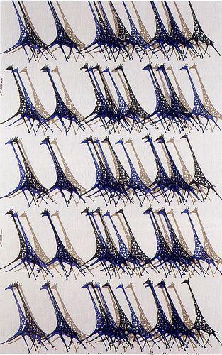 1960's Giraffe Textile Print