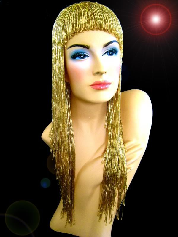 Gold DRAG QUEEN Beaded Gay Cabaret Fancy Cher Bead Wig