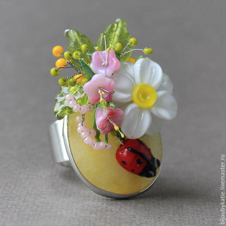 Купить Кольцо Перстень Агат Лэмпворк Ромашка - бусины лэмпворк, стекло мурано, lampwork (лэмпворк)