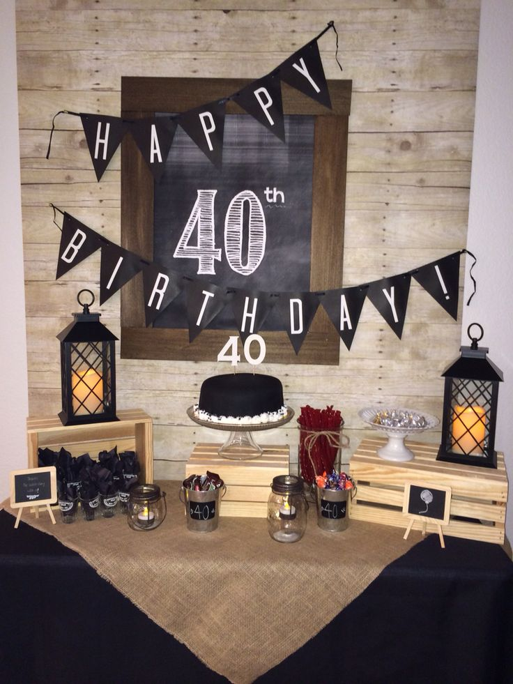 My husband's 40th birthday cake table. Cake table