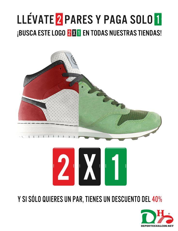 ¿Dos pares de #zapatillas al precio de uno? ¡En todas nuestras tiendas físicas es posible! http://bit.ly/Tiendas-Físicas  Y si sólo quieres un par, llévatelo al 40% de descuento. ¡Tú eliges!