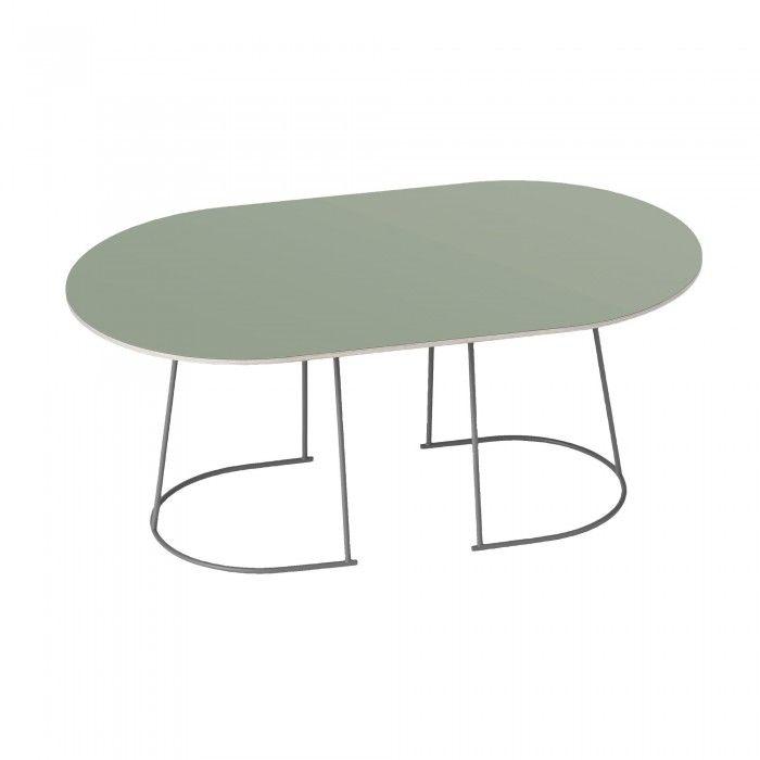 Table basse Airy M dusty green de la marque Muuto. Plateau en contreplaqué poli et cadre en métal soudé et brasé. Décoration et mobilier design à Paris.