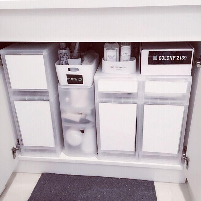 Mi-naHiさんの、バス/トイレ,無印良品,収納ボックス,収納,100均,カッティングシート,白黒,ホワイト,ポリプロピレン,整理収納部,洗面台下収納,収納は白でまとめたい,ポリプロピレンケース 引出式 浅型,ポリプロピレンケース・引出式・深型,ポリプロピレンメイクボックス,のお部屋写真