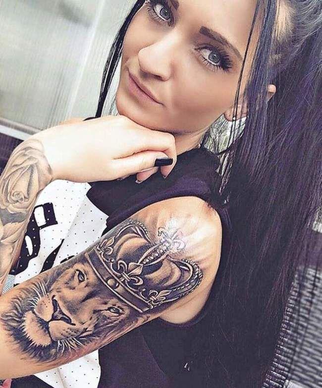Tatouage De Femme Tatouage Lion Realiste Sur Bras Make Up