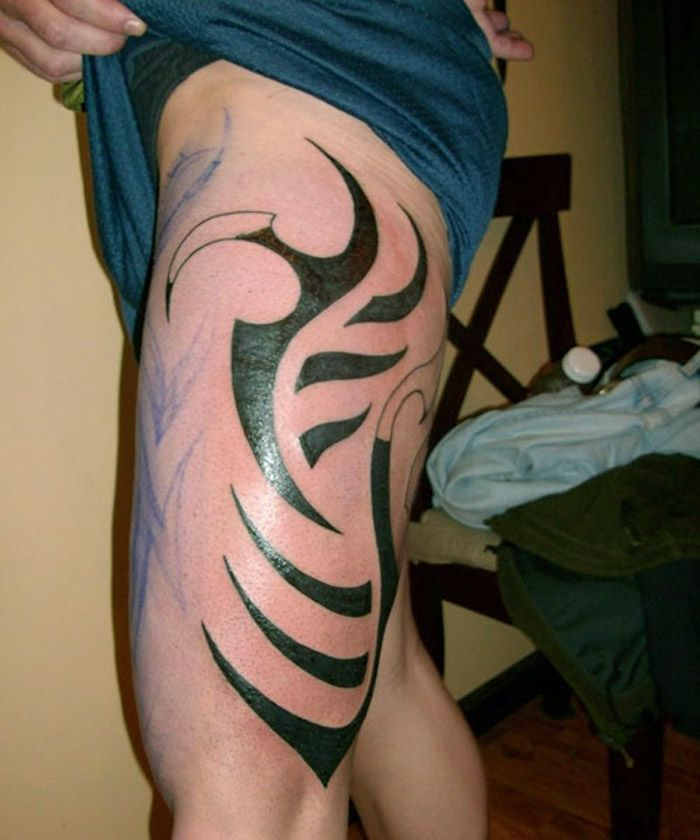 25 best ideas about inner thigh tattoos on pinterest for Thigh tribal tattoos