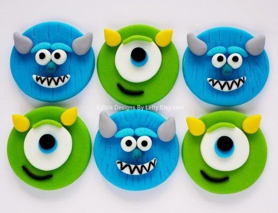 Fondant Monsters University cupcakes