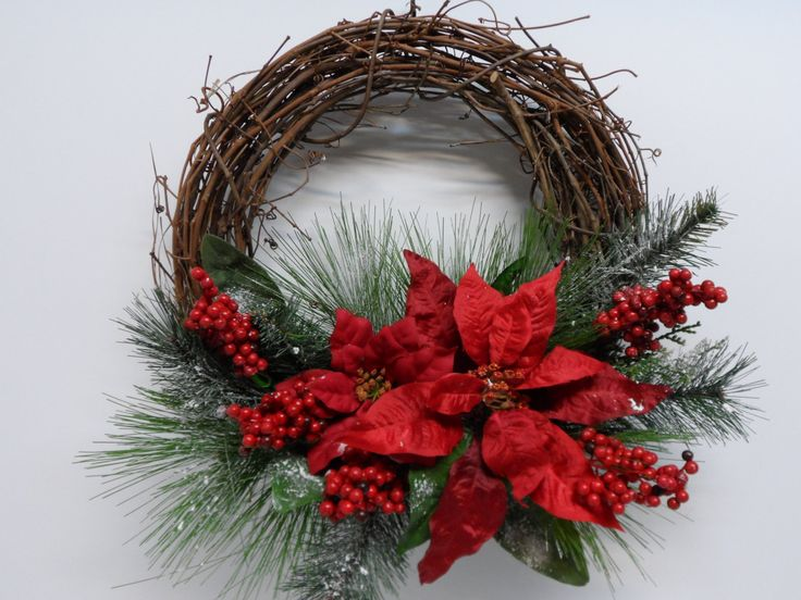 Christmas Grapevine Wreath, Red Poinsettia Grapevine Wreath, Holiday Wreath, Front Door Wreath, White Poinsettias, Red Berries, Snowy Pines by BeautifulHomeAccents on Etsy