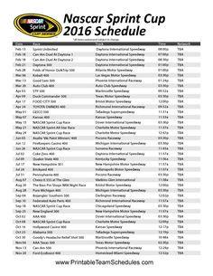 2016 Nascar Sprint Cup Schedule