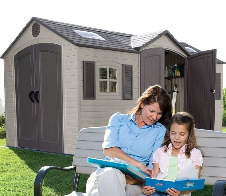 lifetime 15ft wide x 8ft deep double entrance garden shed
