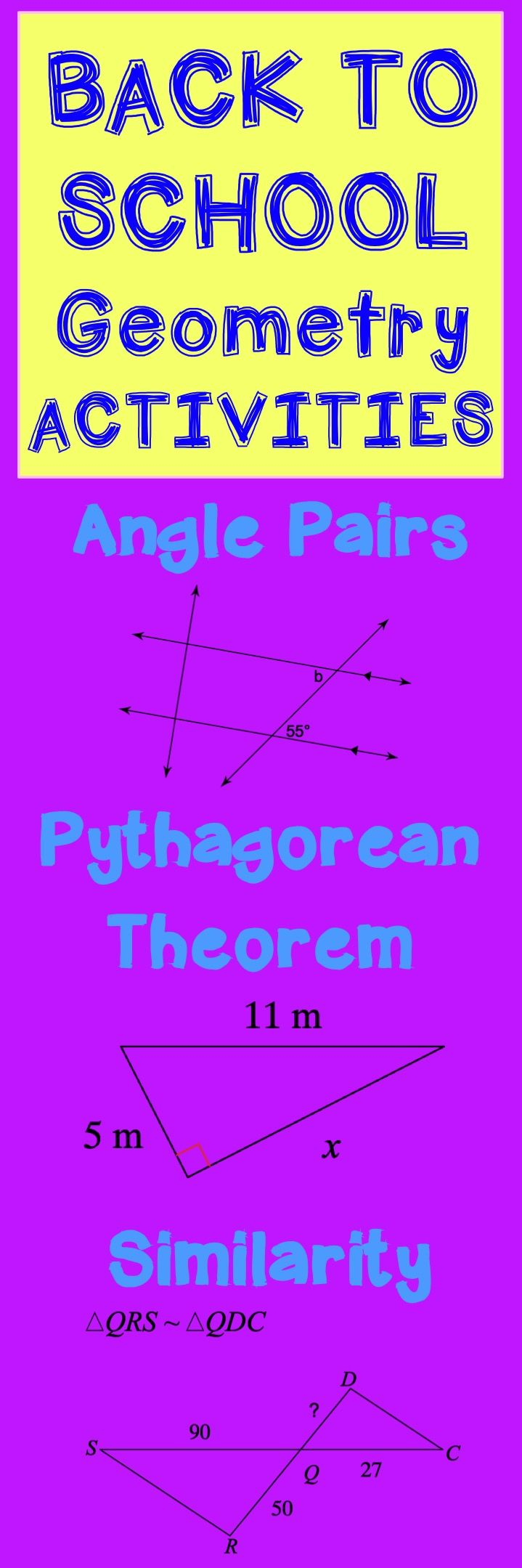 Back to School Geometry activities for the school year! Linear pairs, vertical angles, transversals and parallel lines, pythagorean theorem, similar triangles, right triangle trigonometry, area, volume, circle theorems, and more!