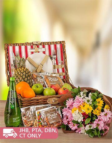 Fruit: Fruit, Nuts and Beautiful Sprays Picnic Basket!