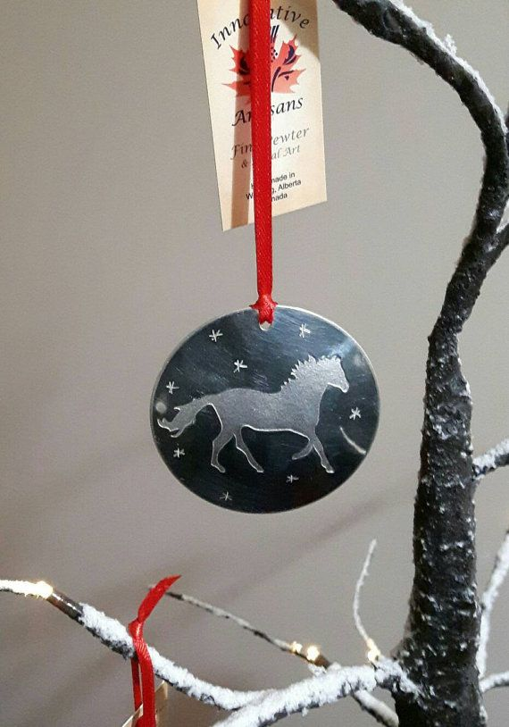 Pewter Strong and Free horse ornament