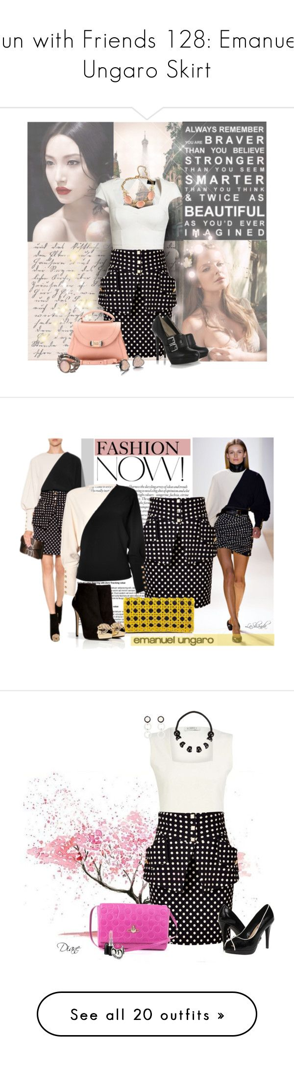 """""""Fun with Friends 128: Emanuel Ungaro Skirt"""" by lashandanista ❤ liked on Polyvore featuring skirts, bottoms, black, faldas, cocktail & party, women, pocket skirt, structured skirt, emanuel ungaro and evening skirts"""