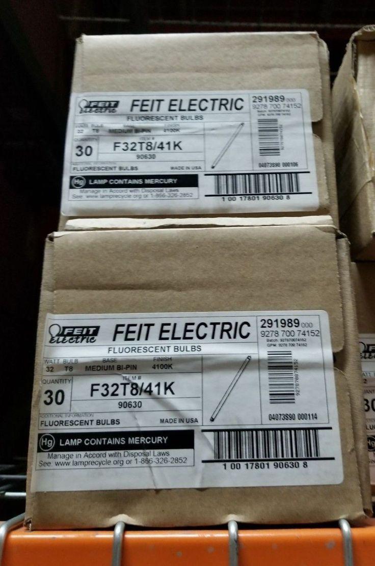 "Feit Electric F32t8/41k 32w Fluorescent Bulb 48"" T8 / Pack"
