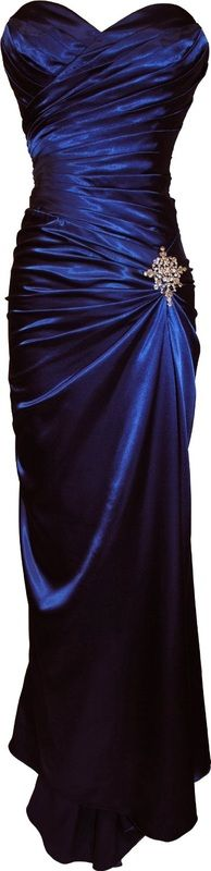 blue satin strapless gown