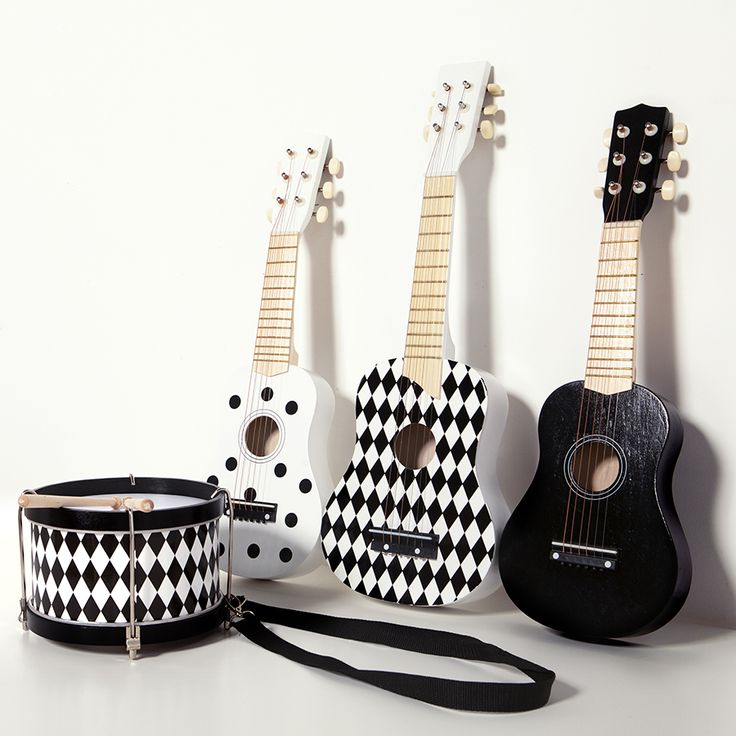 These monochrome Magni Toys kid's guitars and drum make the perfect gift for a musical kids, yet also look super stylish propped up in the bedroom or playroom. Now they can create their own band!