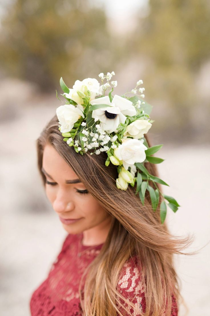 Tent Rocks Engagement Session // Haylie & Gabe via Rocky Mountain Bride // Floral crown, white anemone, freesia, lisianthus, italian ruscus // @missyrichphoto