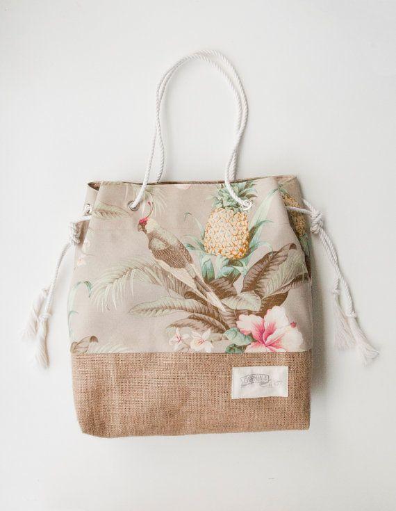 Vintage Pineapple Beach Bag / Tropical Print by theAtlanticOcean