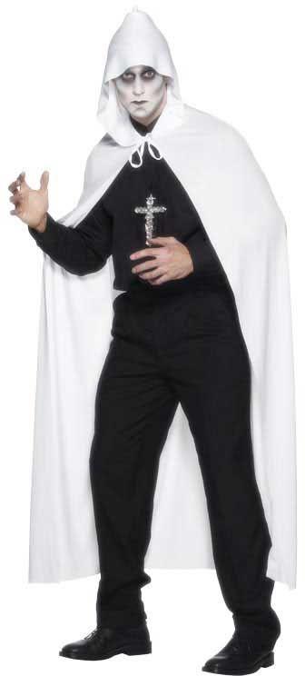 Mantello bianco con cappuccio, taglia unica adulti. 191 cm. Per travestimenti ad Halloween e a Carnevale. Disponibile da C&C Creations Store