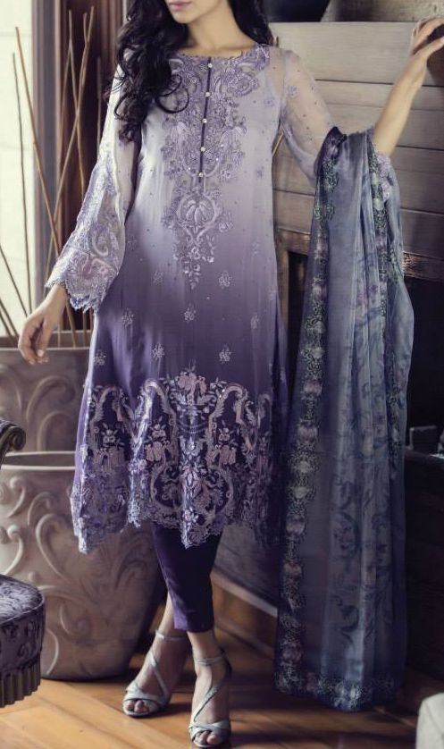 Buy Grey Embroidered Chinese Chiffon Dress by Maria B. Chiffon Eid Collection.