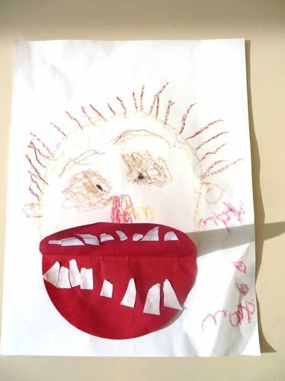 Teken jezelf en plak een mond vol tanden, kleuteridee.nl , Draw yourself and stick a mouth full of teeth 2