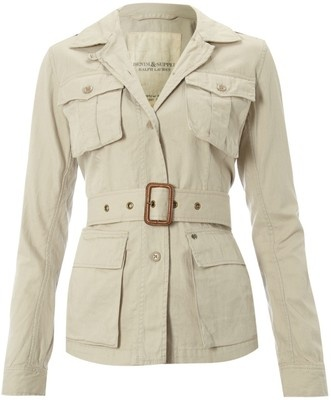 This is an example of a Safari jacket because of the four front pockets and belt; originally worn by sportsmen on safari.