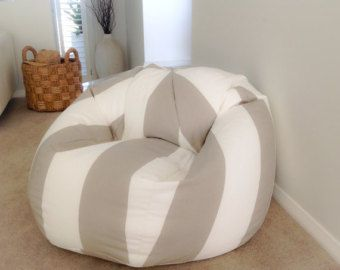 Bean Bag Coastal Taupe And White Stripes Cover Adults Kids Bags