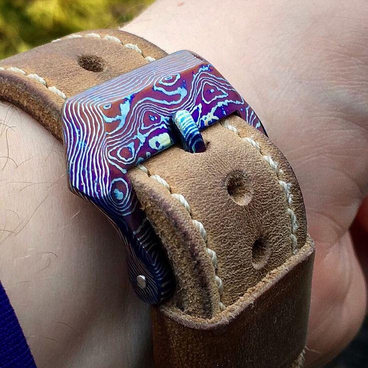 24mm Mokuti Watch Buckle on a Greg Stevens Strap
