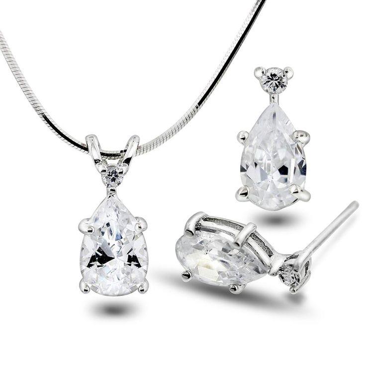 Smykke og ørepynt med dråpeformet zirkonia - Sølv smykkesett med zirkonia