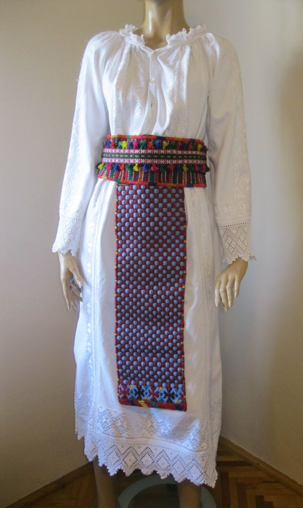 Vintage scarce Romanian traditional costume: dress, aprons and belt from western Transylvania, BANAT folkoric region.  For sale at www.greatblouses.com
