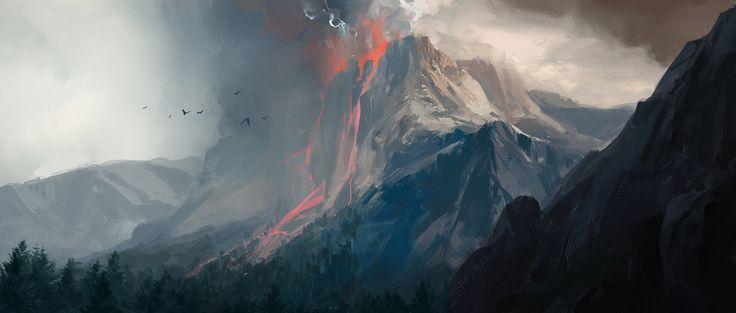 ArtStation - Volcano Explosion Faraway , Jay Wong