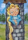 ACEO TW SEP Original Acrylic Painting Outsider Folk Rapunzel Blonde Tower Gulat