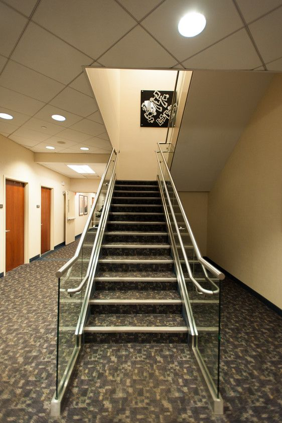 Modern staircase located in medical office building owned and