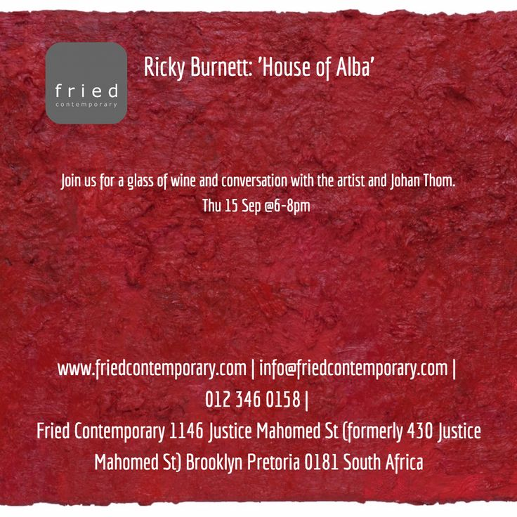 Join us for the opening of Ricky Burnett's: 'The House of Alba' exhibition Thu 15 Sep 6-8pm http://friedcontemporary.com/wp-content/uploads/2013/10/postcardbackmap.jpg