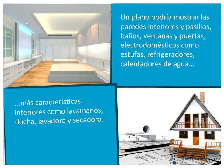 Un plano podría mostrar las paredes interiores y pasillos, baños, ventanas y puertas, electrodomésticos como estufas, refrigeradores, calentadores de agua...