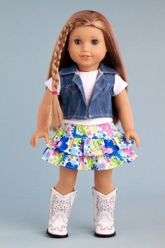 DreamWorld Collections Feeling Happy - Colorful skirt with white t-shirt, blue jeans vest and white cowgirl boots - American Girl Doll Clothes : Casual Doll Outfits