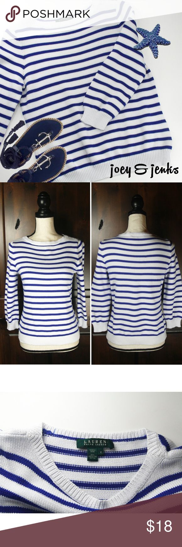 "*NEW LISTING* Lauren Blue White Sweater Medium Take me to a summer party!  Good condition with light wear.  100% cotton makes it a good summer sweater when there is a cool breeze.  ● Size Medium. Length 22"", Bust 16"" laid flat.  Fitted for a Medium and looser fit for a Small. My dress form is Medium so you can judge. ● 100% Cotton. Machine wash cold, lay flat to dry. ● Bundle 2 or more items for 15% off. Free shipping for orders over $100. Smoke-free home and fast shipper! Lauren Ralph…"