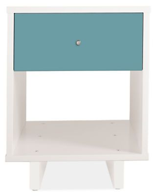 Made by a family-owned New York company, the Moda nightstand brings modern, functional design to kids' furniture. Crafted of solid maple and white lacquered fiberboard, you can choose from three wood finishes and an array of bright colors.