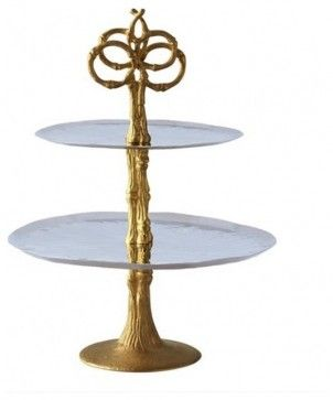 2 Tier Platter with Gold Plated Bamboo Stand traditional serveware