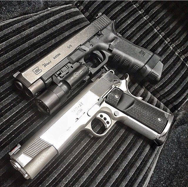 Saw this pic on Instagram: Glock 34 Gen 4 (9mm) Practical/Tactical with a Springfield Armory 1911 (9mm). I am a fan of both Glocks and 1911s.