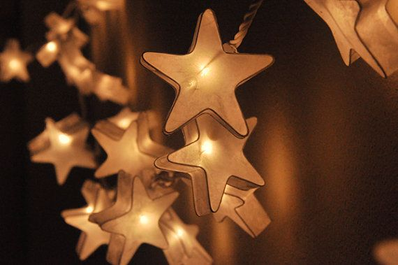 20 White Star Paper Lantern String Lights Warm Lights for Party Wedding and Decorations