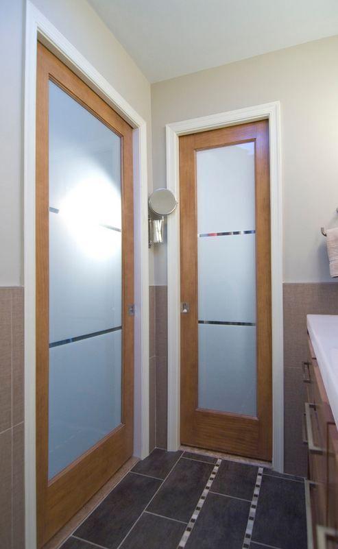 Simpson door cherry doors with custom etched glass pattern for Simpson doors