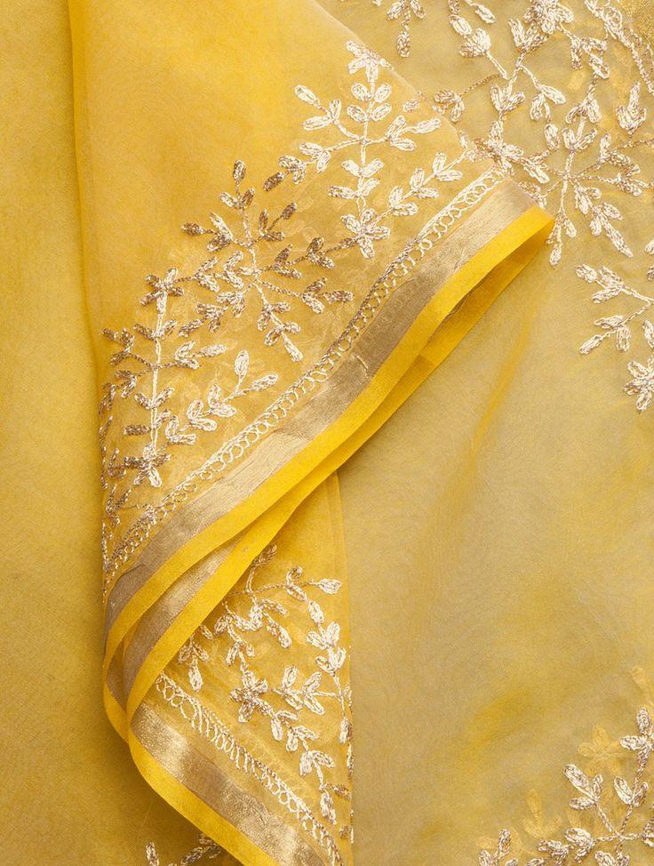 Buy Yellow-Golden Zari Embroidered & Gota Embellished Organza Dupatta Online at Jaypore.com